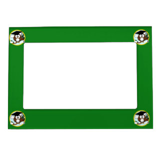 Graduation Owl With Cap & Diploma - Green and Gold Magnetic Frame