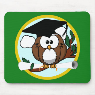 Graduation Owl With Cap & Diploma - Green and Gold Mouse Pad