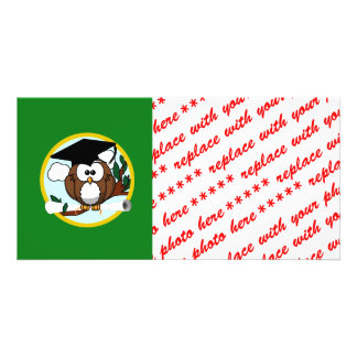 Graduation Owl With Cap & Diploma - Green and Gold Customized Photo Card