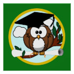 Graduation Owl With Cap & Diploma - Green and Gold Poster