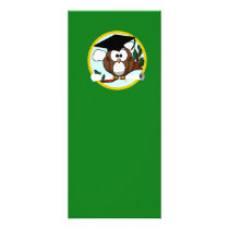 Graduation Owl With Cap & Diploma - Green and Gold Rack Card