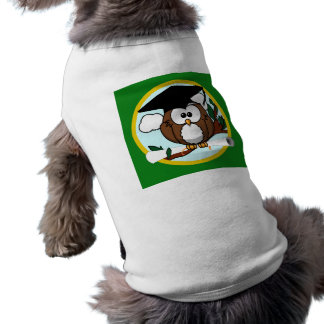 Graduation Owl With Cap & Diploma - Green and Gold Shirt