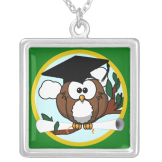 Graduation Owl With Cap & Diploma - Green and Gold Silver Plated Necklace