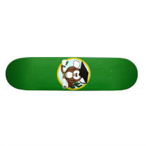 Graduation Owl With Cap & Diploma - Green and Gold Skateboard Deck