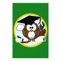 Graduation Owl With Cap & Diploma - Green and Gold Stationery