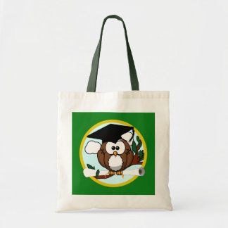 Graduation Owl With Cap & Diploma - Green and Gold Tote Bag