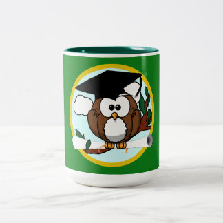 Graduation Owl With Cap & Diploma - Green and Gold Two-Tone Coffee Mug