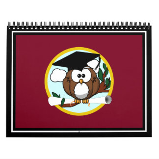 Graduation Owl With Cap & Diploma - Red and Gold Calendar