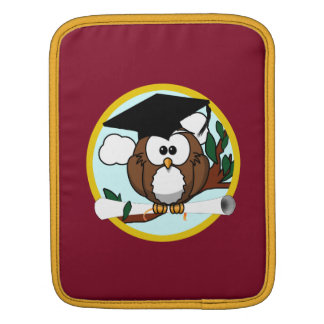 Graduation Owl With Cap & Diploma - Red and Gold Sleeve For iPads