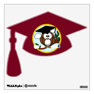 Graduation Owl With Cap & Diploma - Red and Gold Wall Graphics