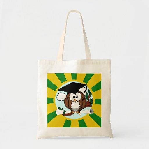 Graduation Owl With Green And Gold School Colors Budget Tote Bag