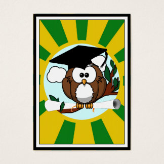 Graduation Owl With Green And Gold School Colors Business Card