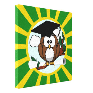 Graduation Owl With Green And Gold School Colors Canvas Print