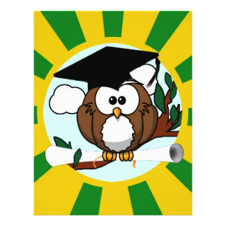 Graduation Owl With Green And Gold School Colors Flyer