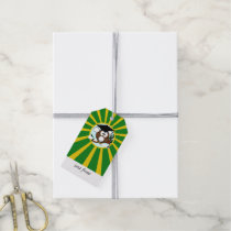 Graduation Owl With Green And Gold School Colors Gift Tags