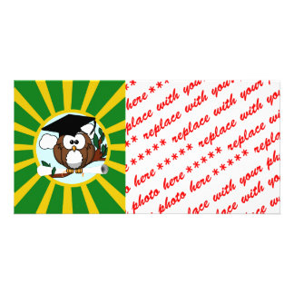 Graduation Owl With Green And Gold School Colors Photo Card