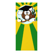 Graduation Owl With Green And Gold School Colors Rack Card