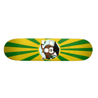 Graduation Owl With Green And Gold School Colors Skateboard Deck