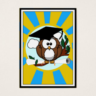 Graduation Owl With Lt.Blue And Gold School Colors Business Card