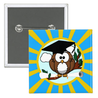 Graduation Owl With Lt.Blue And Gold School Colors Button