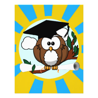 Graduation Owl With Lt.Blue And Gold School Colors Flyer