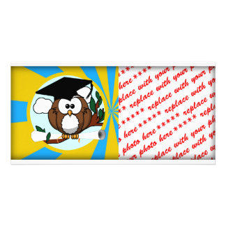 Graduation Owl With Lt.Blue And Gold School Colors Photo Card