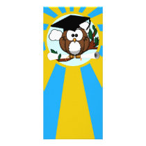 Graduation Owl With Lt.Blue And Gold School Colors Rack Card