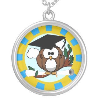 Graduation Owl With Lt.Blue And Gold School Colors Round Pendant Necklace