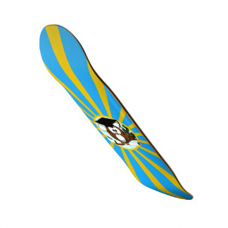 Graduation Owl With Lt.Blue And Gold School Colors Skateboard