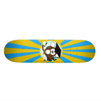 Graduation Owl With Lt.Blue And Gold School Colors Skateboard Decks