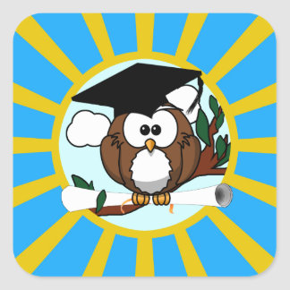 Graduation Owl With Lt.Blue And Gold School Colors Square Sticker