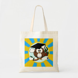 Graduation Owl With Lt.Blue And Gold School Colors Tote Bag