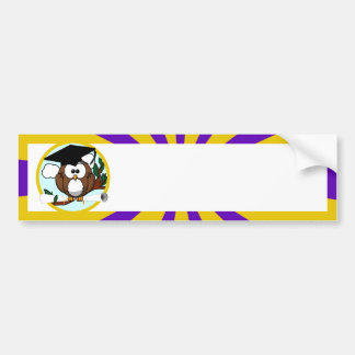 Graduation Owl With Purple And Gold School Colors Bumper Sticker