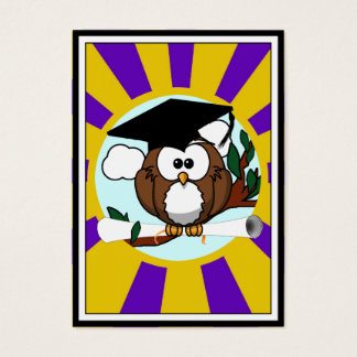 Graduation Owl With Purple And Gold School Colors Business Card