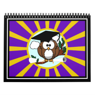 Graduation Owl With Purple And Gold School Colors Calendar