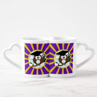 Graduation Owl With Purple And Gold School Colors Coffee Mug Set