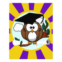 Graduation Owl With Purple And Gold School Colors Flyer