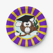 Graduation Owl With Purple And Gold School Colors Paper Plate