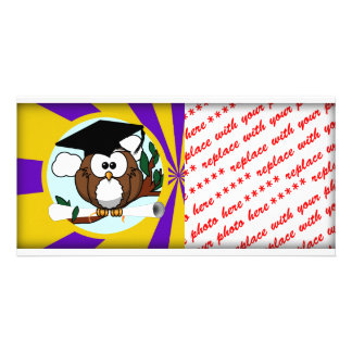 Graduation Owl With Purple And Gold School Colors Photo Card