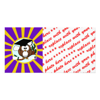 Graduation Owl With Purple And Gold School Colors Picture Card