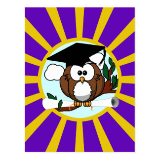 Graduation Owl With Purple And Gold School Colors Post Cards