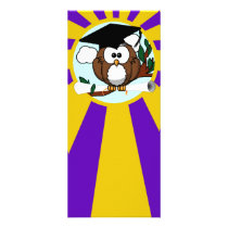 Graduation Owl With Purple And Gold School Colors Rack Card