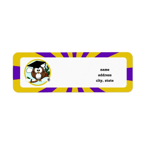 Graduation Owl With Purple And Gold School Colors Return Address Label