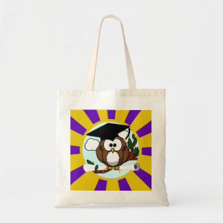 Graduation Owl With Purple And Gold School Colors Tote Bag