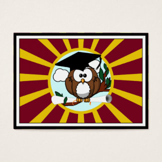 Graduation Owl With Red And Gold School Colors Business Card