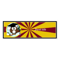 Graduation Owl With Red And Gold School Colors Double-Sided Mini Business Cards (Pack Of 20)