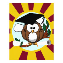 Graduation Owl With Red And Gold School Colors Flyer