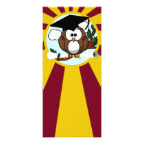 Graduation Owl With Red And Gold School Colors Rack Card