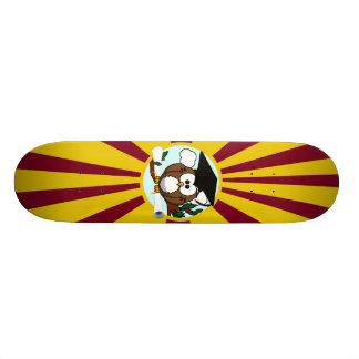 Graduation Owl With Red And Gold School Colors Skateboard Deck