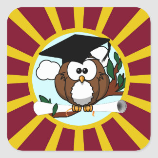 Graduation Owl With Red And Gold School Colors Square Sticker